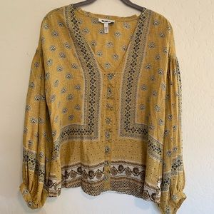 William Rast Yellow Modal Boho Blouse Sz M
